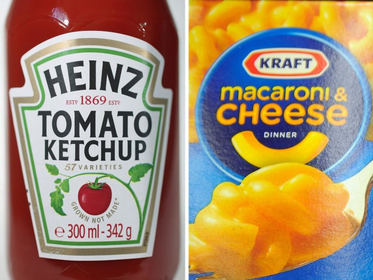Heinz ketchup and Kraft macaroni and cheese