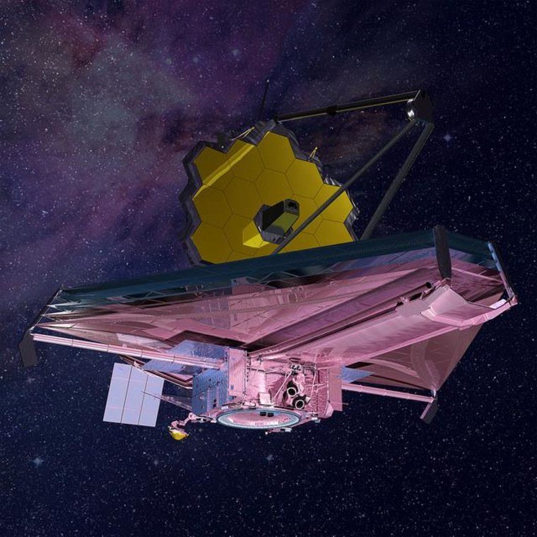 This artist's impression of NASA's James Webb Space Telescope shows the spacecraft completely deployed in space.