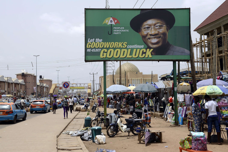 Image:Photo shows a campaign billboard of Nigerian President Goodluck Jonathan and candidate of the ruling Peoples Democratic Party (PDP)  in downtown Akure, Ondo State southwestern Nigeria, on March 23. Africa's most populous country and top economy, Nig
