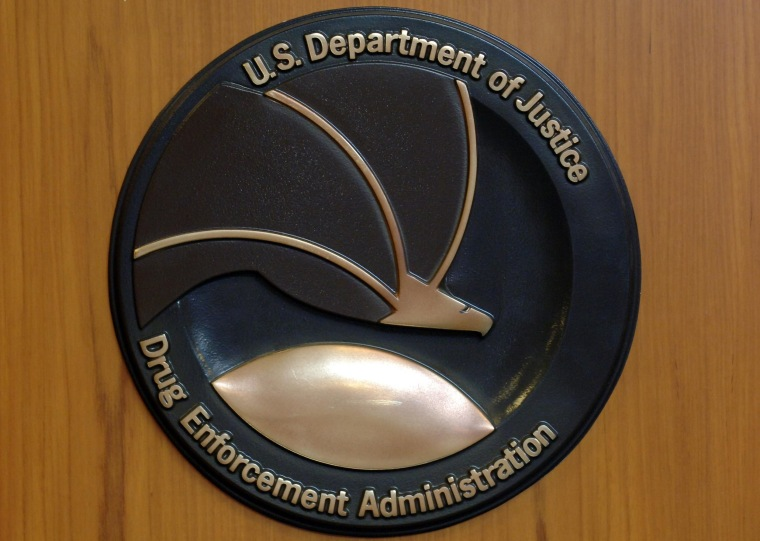 The picture shows the emblem of the Drug Enforcement Administration (DEA) of the US Justice Department at the US American embassy in Berlin in 2005.