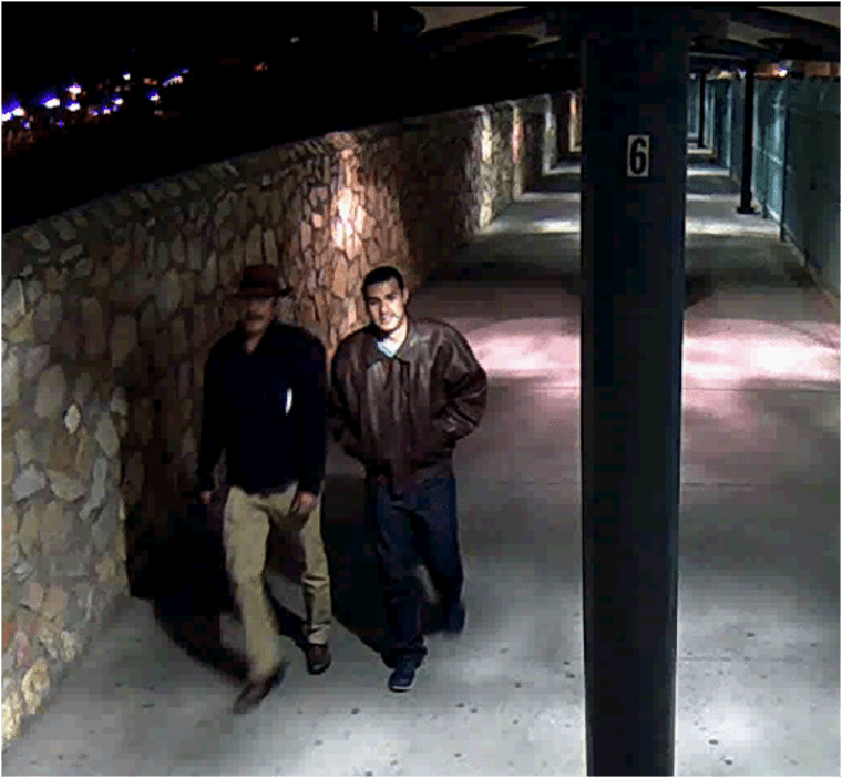 Surveillance photos of Victor Solis and Henry Solis crossing into Juarez, Chihuahua, Mexico, from El Paso, Texas on March 14 at approximately 5:40 a.m.