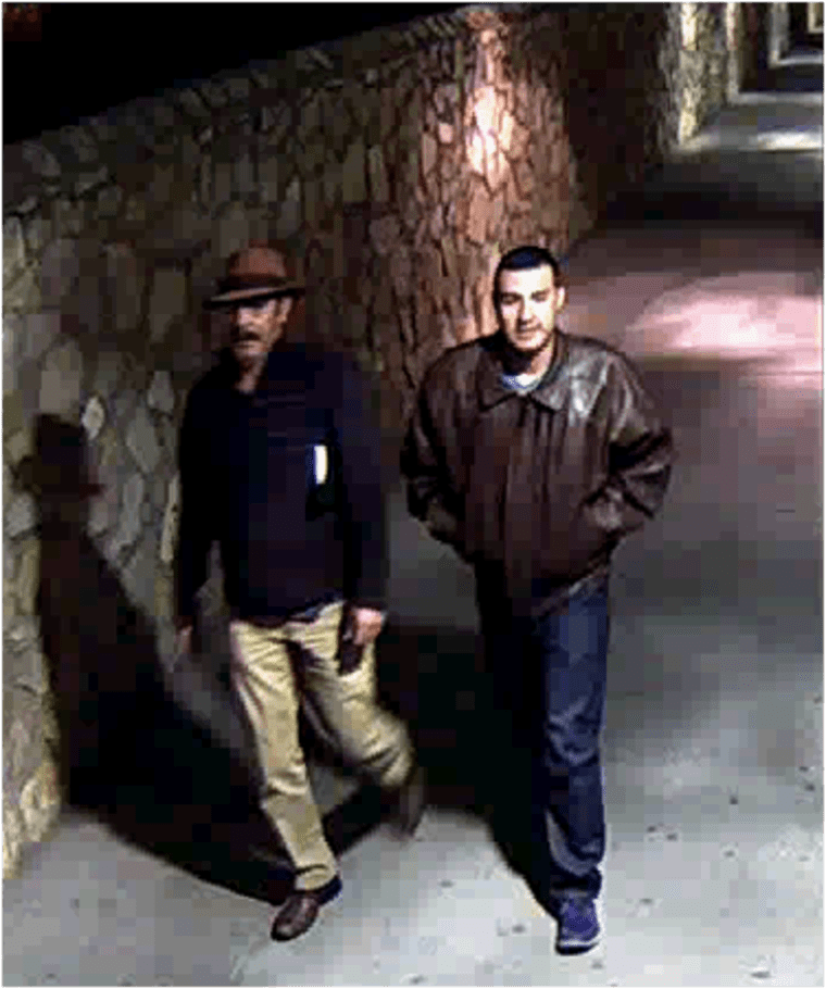 Surveillance photos of Victor Solis and Henry Solis crossing into Juarez, Chihuahua, Mexico, from El Paso, Texas on March 14 at approximately 5:40 a.m