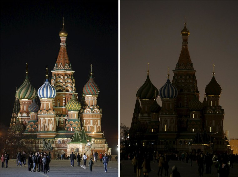 Image: Combination picture shows St. Basil's Cathedral before and during Earth Hour in Moscow