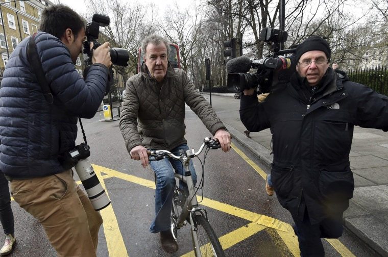 Image: British television presenter Clarkson leaves his home in west London