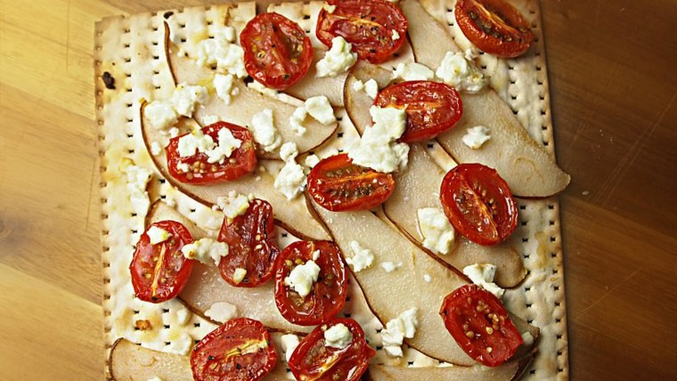 Matzo pizza with pear and roasted tomatoes