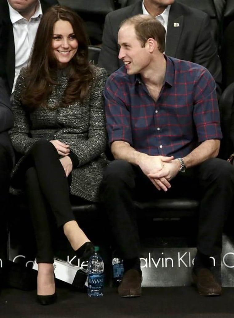 The Duke and Duchess of Cambridge, during a Brooklyn Nets NBA game while visiting New York last December.
