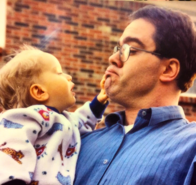 Jeff Wright and his son Adam as a baby.