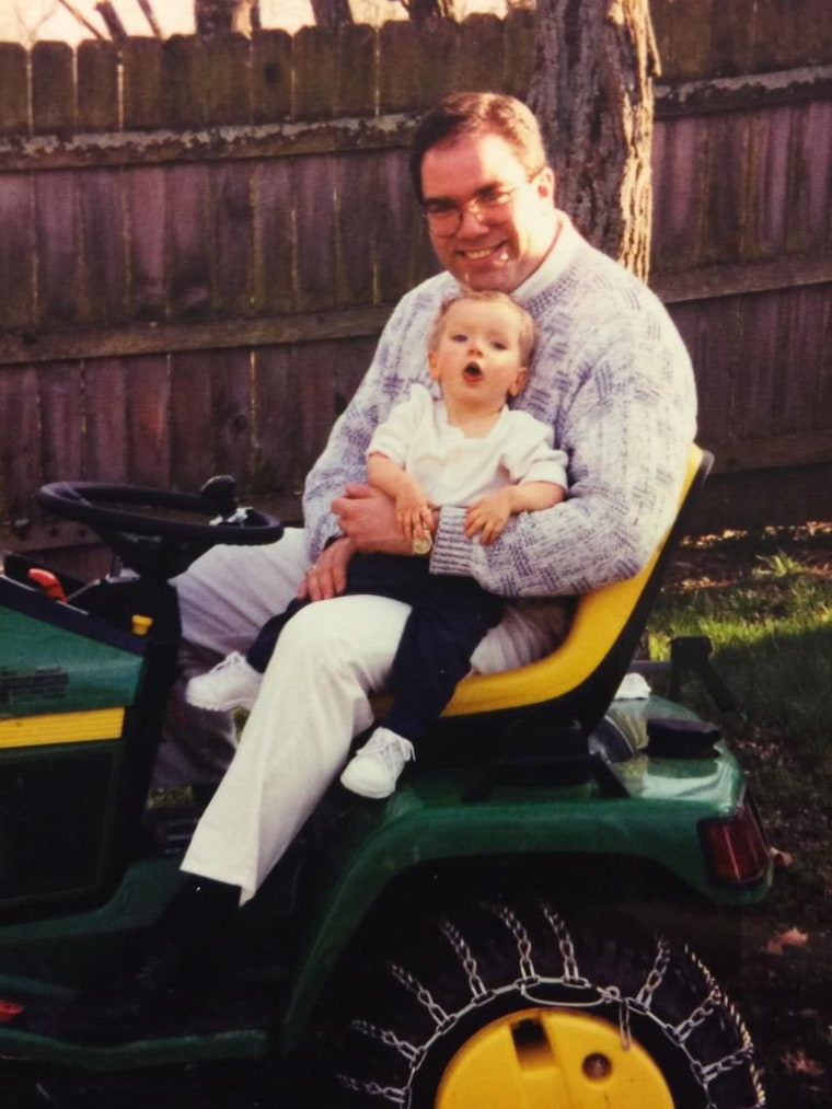 Jeff Wright and his son Adam as a toddler.