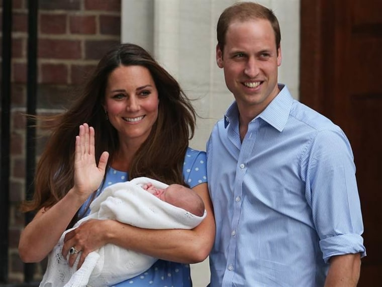 The duke and duchess leaving with their at-the-time unnamed newborn son at St Mary's Hospital on July 23, 2013.