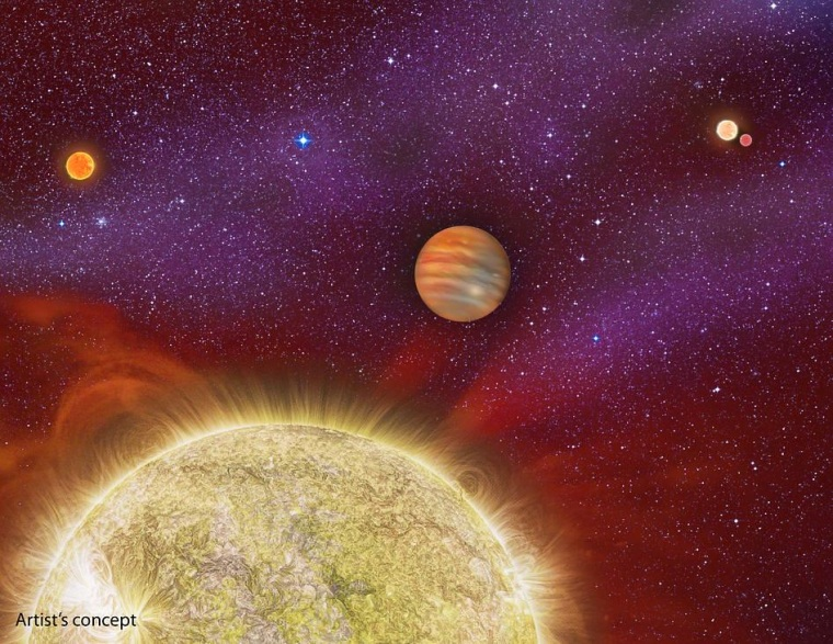 Huge Alien Planet Bathes in the Light of Four Suns