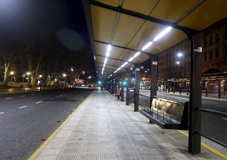 Image: An empty bus stop is seen during a one-day nationwide strike in Buenos Aires