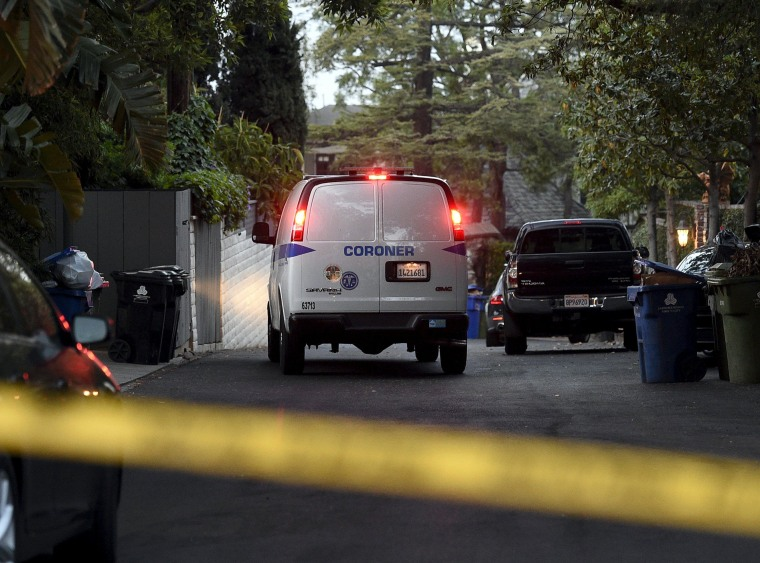 Image: Coroner's van arrives at Andrew Getty's home