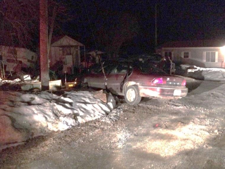 Image: Scene of crash in Noblesboro, Maine