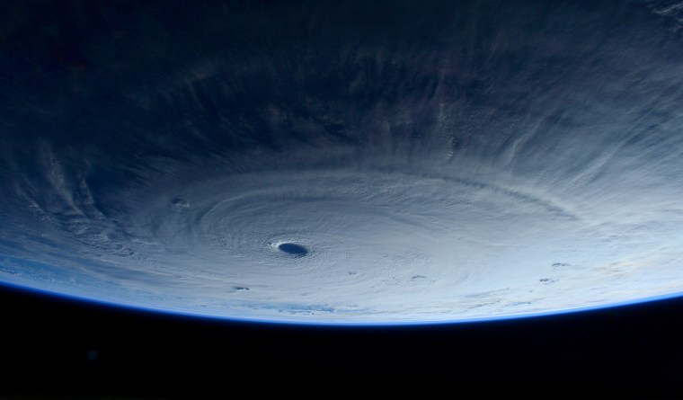 European Space Agency astronaut Samantha Cristoforetti captured this image of Typhoon #Maysak from the international Space Station on April 1.