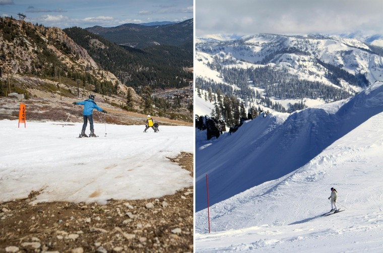 This combo of two photos shows on the left: skiers threading their way through patches of dirt at Squaw Valley Ski Resort, March 21, 2015 in Olympic Valley, California; and on the right: a skier at Squaw Valley on March 28, 2011.