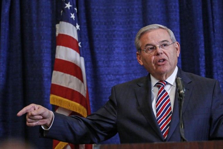 Image: NJ Sen. Bob Menendez Holds Press Conf. After Indictment On Corruption Charges
