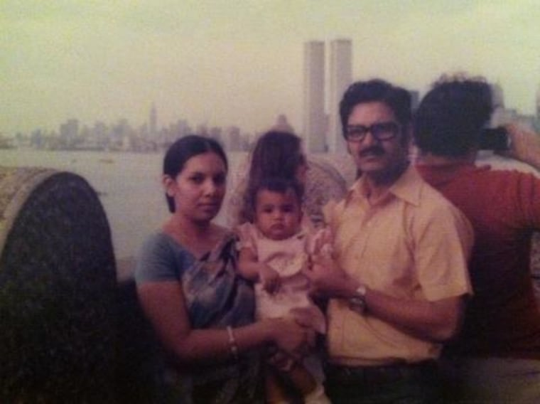 Nasia Anam as a baby with her parents in New York. Her father immigrated to the U.S. in 1974 from Dhaka, Bangladesh.