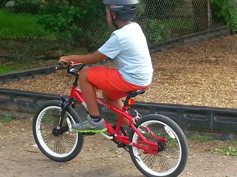 Xavier on his bike.