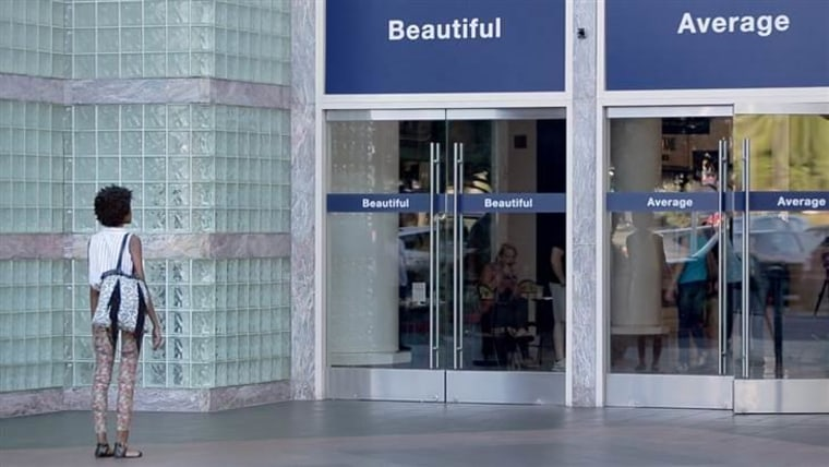 "Dove's #ChooseBeautiful campaign asked women to define themselves as ""beautiful"" or ""average."""