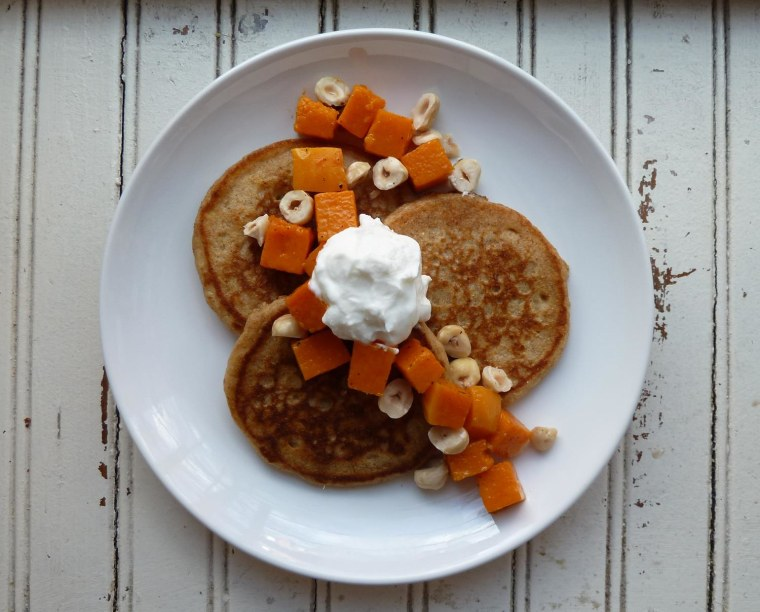 Butternut squash, yogurt and hazelnut pancakes recipe