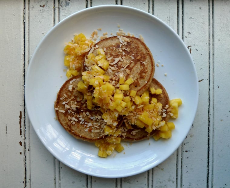 Mango and toasted coconut pancakes recipe