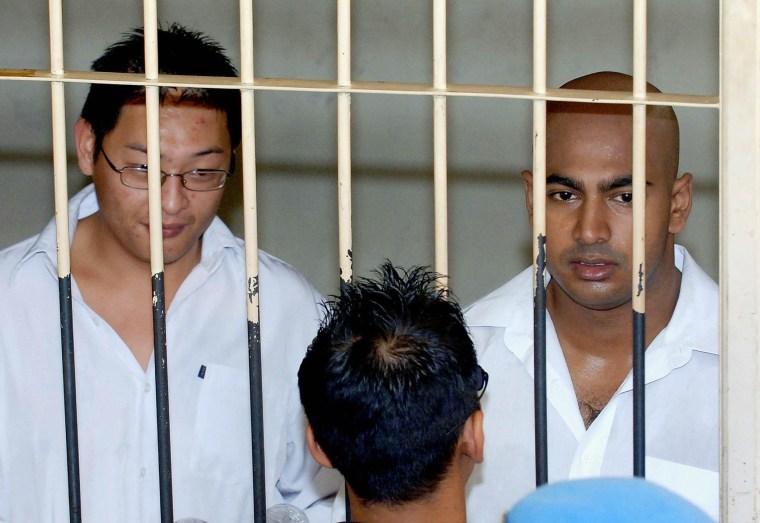 Image: Andrew Chan, left, and Myuran Sukumaran in 2006
