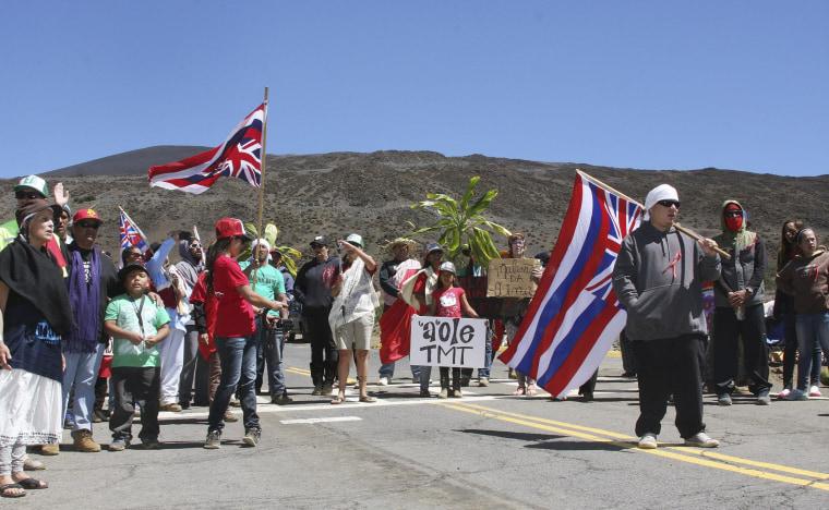 Image: Protesters at Mauna Kea