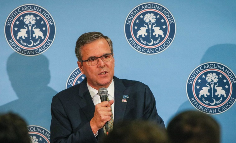 Former Florida Gov. Jeb Bush, speaks at the South Carolina house republican caucus  reception in Columbia, S.C., Tuesday, March 17, 2015. Bush said Tuesday that minimum wage increases should be left to businesses and state governments, opposing a hike in the federal pay floor as an impediment to individuals trying to escape from poverty. (AP Photo/The State, Tim Dominick) ALL LOCAL MEDIA OUT, (TV, ONLINE, PRINT)