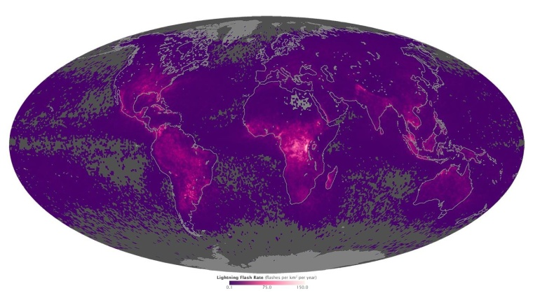 A map of global lightning activity.