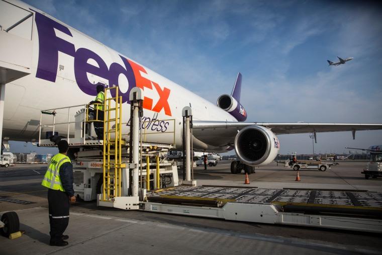 Image: FedEx plane in Newark, N.J., on Dec. 16, 2014