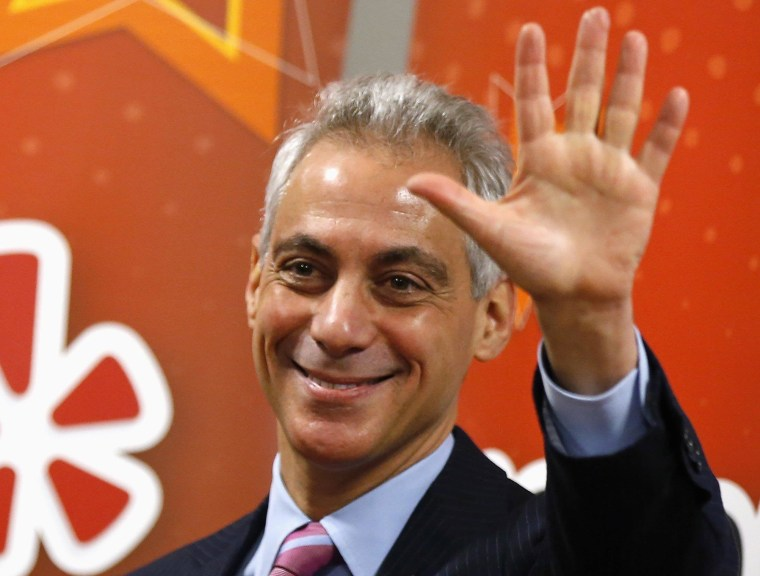 Image: Chicago's Mayor Rahm Emanuel attends an opening ceremony for the Yelp Inc. offices in Chicago, Illinois