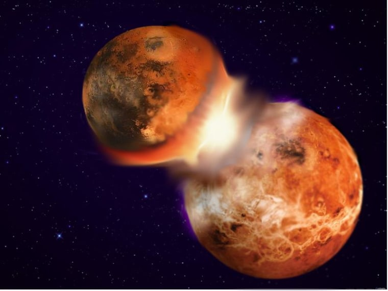 Image: Artist's rendition of catastrophic collision of two planetary bodies