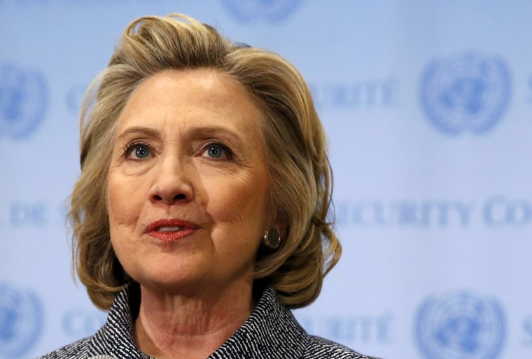 Image: File photo of former U.S. Secretary of State Hillary Clinton speaking during a news conference at the United Nations in New York