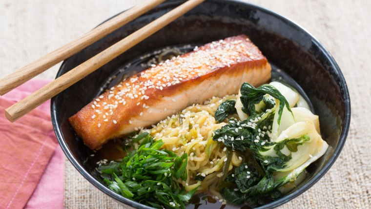 Pan-Roasted Salmon with Noodles recipe