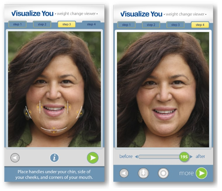 The Visualize You app is a unique application that creates a visualization of you at your ideal goal weight.