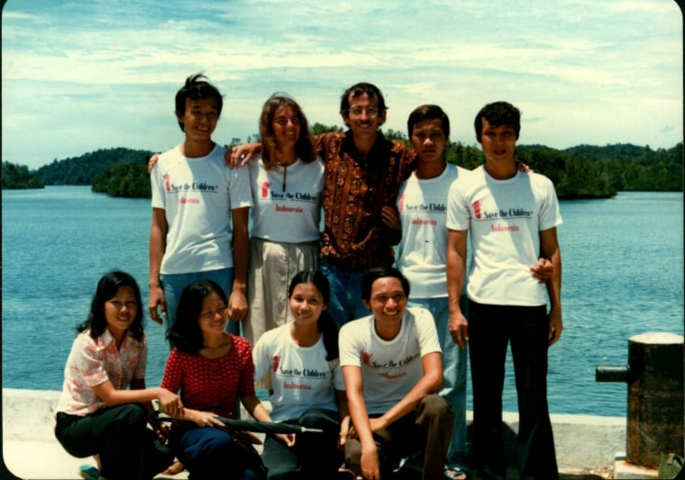 My-Duyen (bottom, second from the right) with others who escaped the war by boat, arriving safely in Indonesia from Vietnam in 1981.