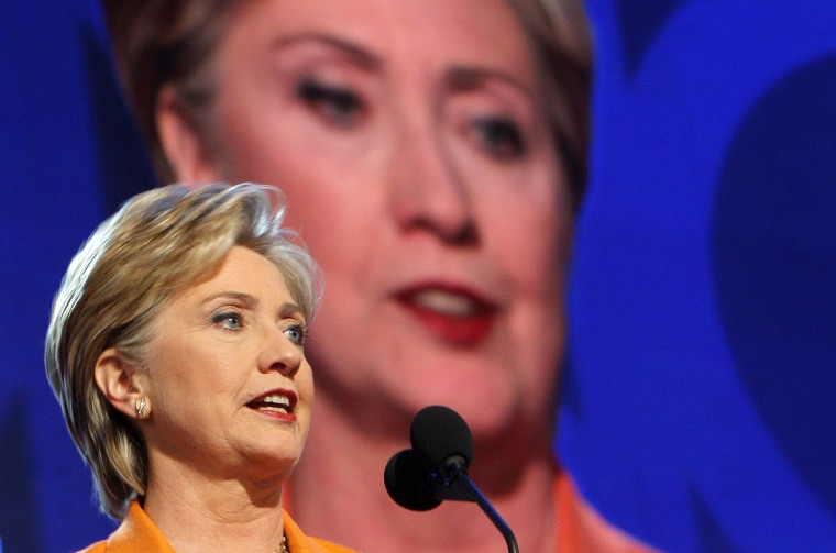 Image: U.S. Senator Hillary Clinton speaks at the 2008 Democratic National Convention in Denver