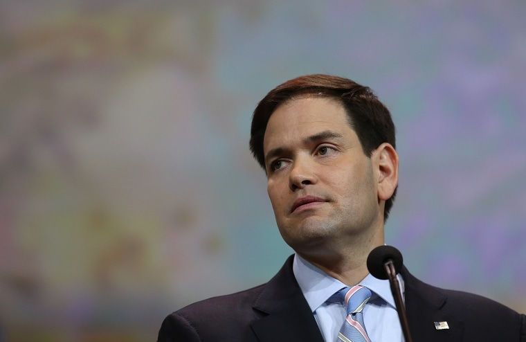 File photo of U.S. Sen. Marco Rubio (R-FL) speaking at the NRA-ILA Leadership Forum at the 2015 NRA Annual Meeting & Exhibits on April 10, 2015 in Nashville, Tennessee.