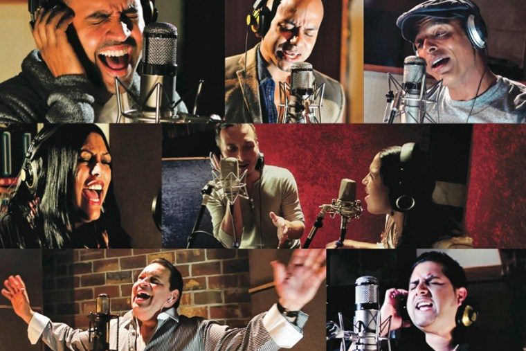 "Some of the Latino musicians who collaborated on the ""Unity"" album, a tribute to Michael Jackson."