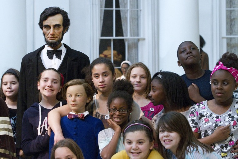 Image: Students with President Lincoln Figure