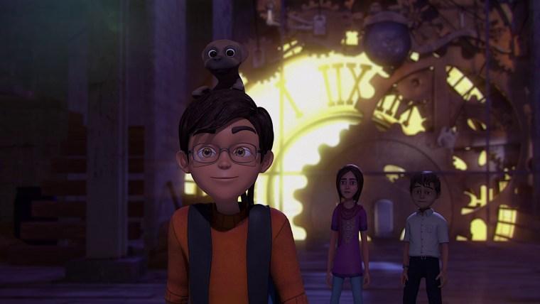 "The heroes of Pakistan's first full-length feature animated film, ""3 Bahadur,"" Saadi, Amna, and Kamil, and their sidekick Gabru."