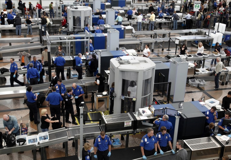 Image: Transportation Security Agency workers at Denver International Airport