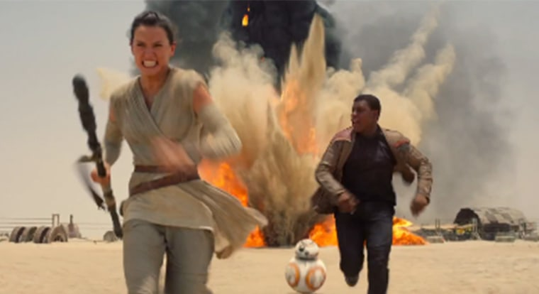"A screen grab from the trailer for the seventh installment of ""Star Wars: The Force Awakens"""
