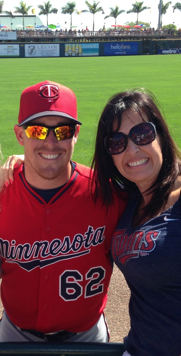 Biggest fan: MLB pitcher J.R. Graham with his mom, Julie.