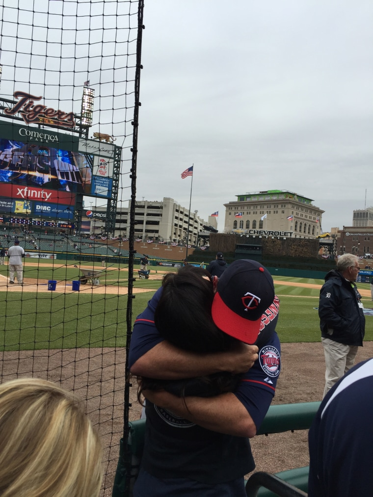 Thanks, Mom: Pitcher J.R. Graham hugs his mom Julie.