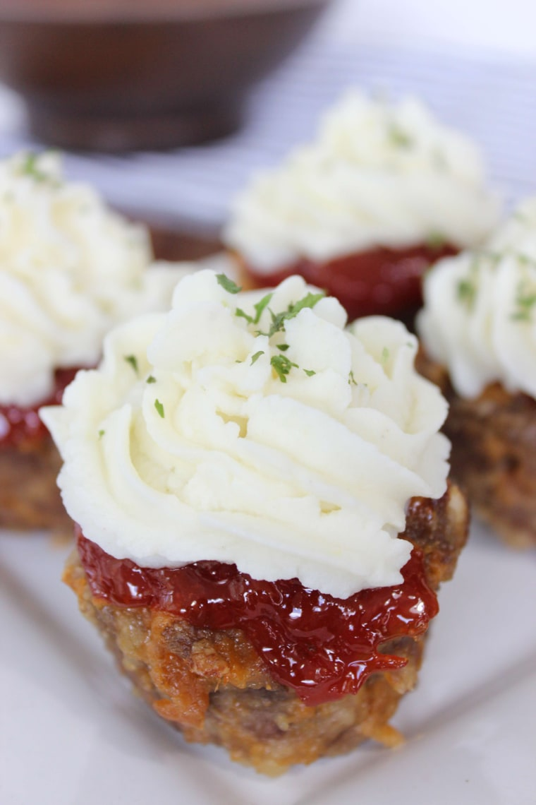 Mini mashed potato topped meatloaves