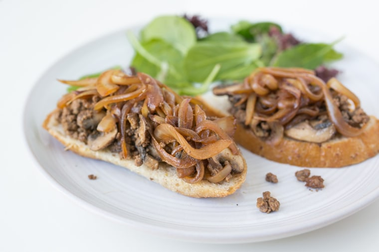 Skillet Beef and Mushroom Toasts with Baby Kale Salad