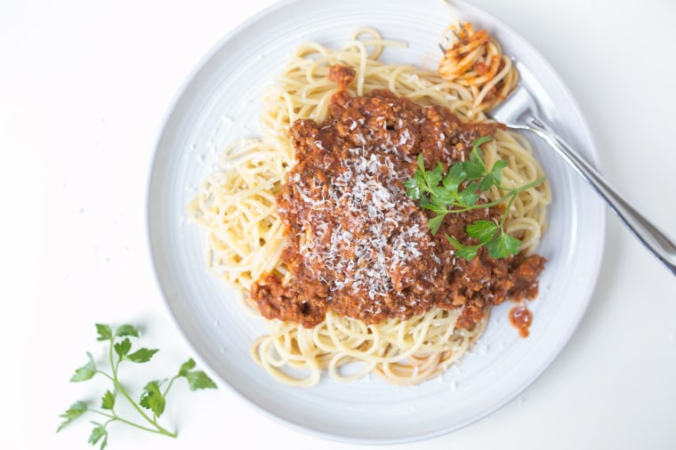 Spaghetti with Meat Sauce and Balsamic Roasted Carrots