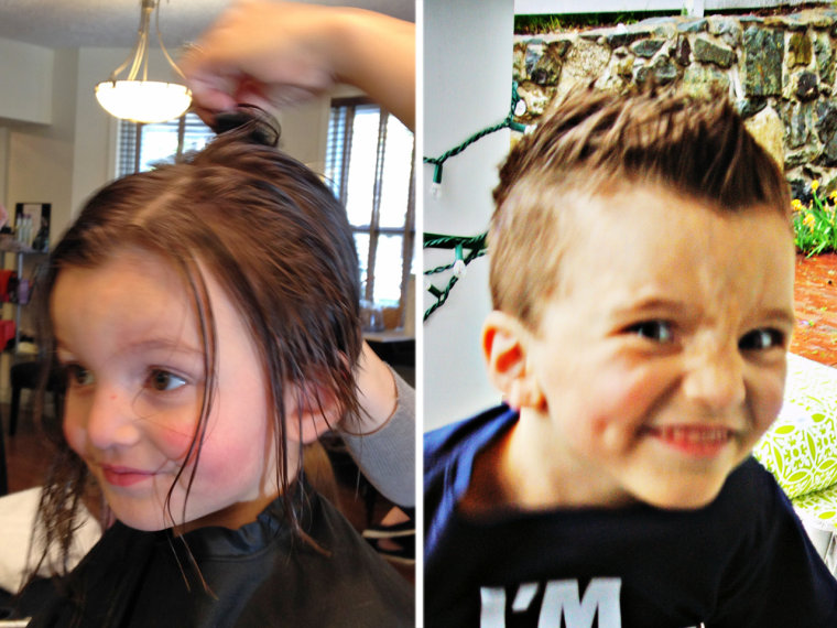 Jacob before and after having his hair cut.
