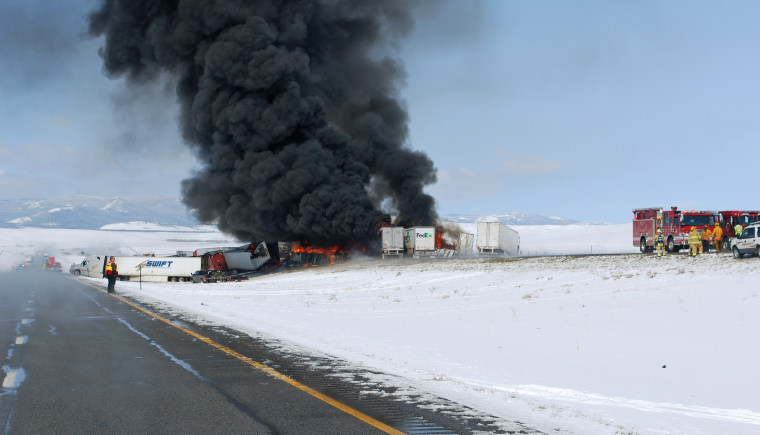 Interstate 80 is closed due to a major vehicle pileup approximately 18 miles west of Laramie at mile post 292 on April 20.